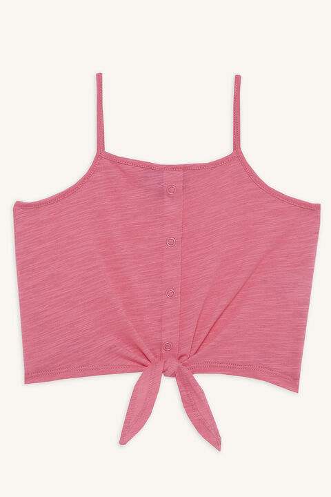 Tween girl LIZA KNOT CAMI TOP in colour AZALEA PINK
