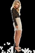 RORY LACE BODYSUIT in colour CAVIAR