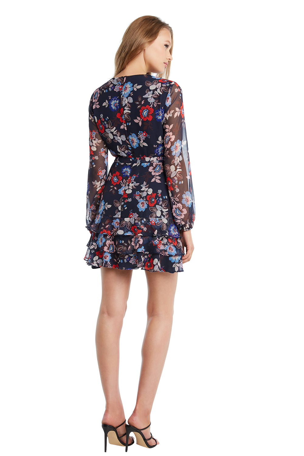 FRILL FLORAL DRESS in colour AMPARO BLUE