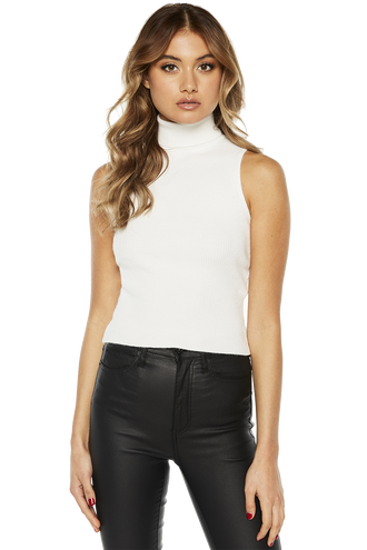 MADI FUNEL CROP KNIT TOP in colour BRIGHT WHITE
