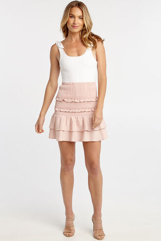 SHIRRED FRILL SKIRT  in colour MISTY ROSE