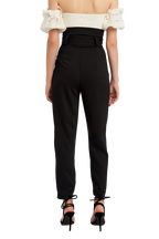 SLIM BUCKLE PANT in colour CAVIAR