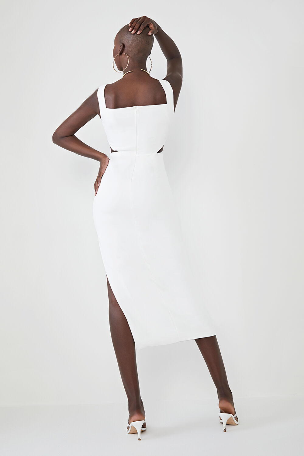 HARISSA MIDI DRESS in colour CLOUD DANCER
