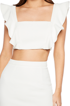 ASHLEY FRILL TOP in colour CLOUD DANCER