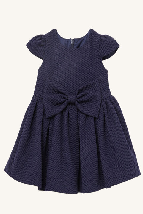 JUNIOR GIRL POLLY BOW DRESS in colour BLACK IRIS