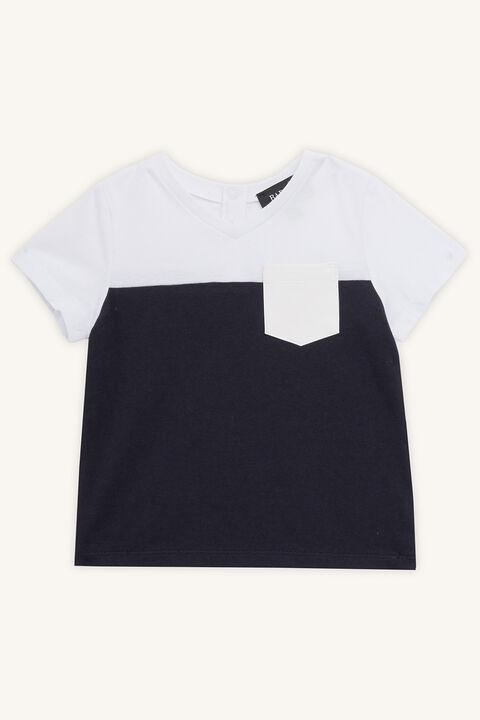 SPLICED PU TEE in colour BLACK IRIS
