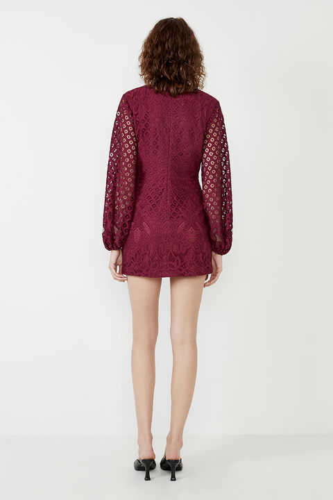 LILY LACE DRESS in colour BURGUNDY
