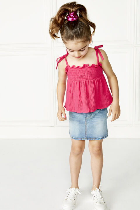 JUNIOR GIRL nora shirred top in colour SHOCKING PINK