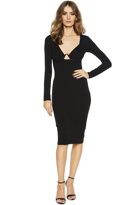GEMMA KNIT DRESS in colour CAVIAR