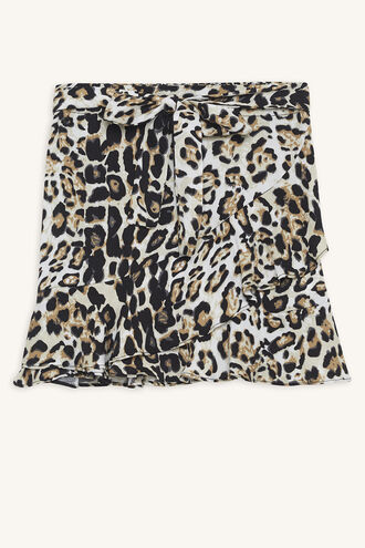 LEOPARD WRAP SKIRT in colour BUTTERUM