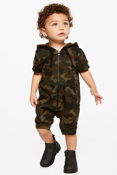BRAX HOODED JUMPSUIT in colour RIFLE GREEN