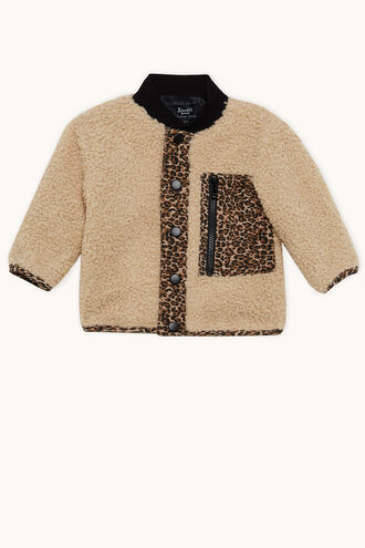LEOPARD SHERPA JKT in colour ALMOND