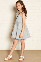 LISSA SHIRRED DRESS in colour CASHMERE BLUE