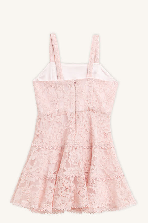 CHARLOTTE LACE DRESS in colour PRIMROSE PINK