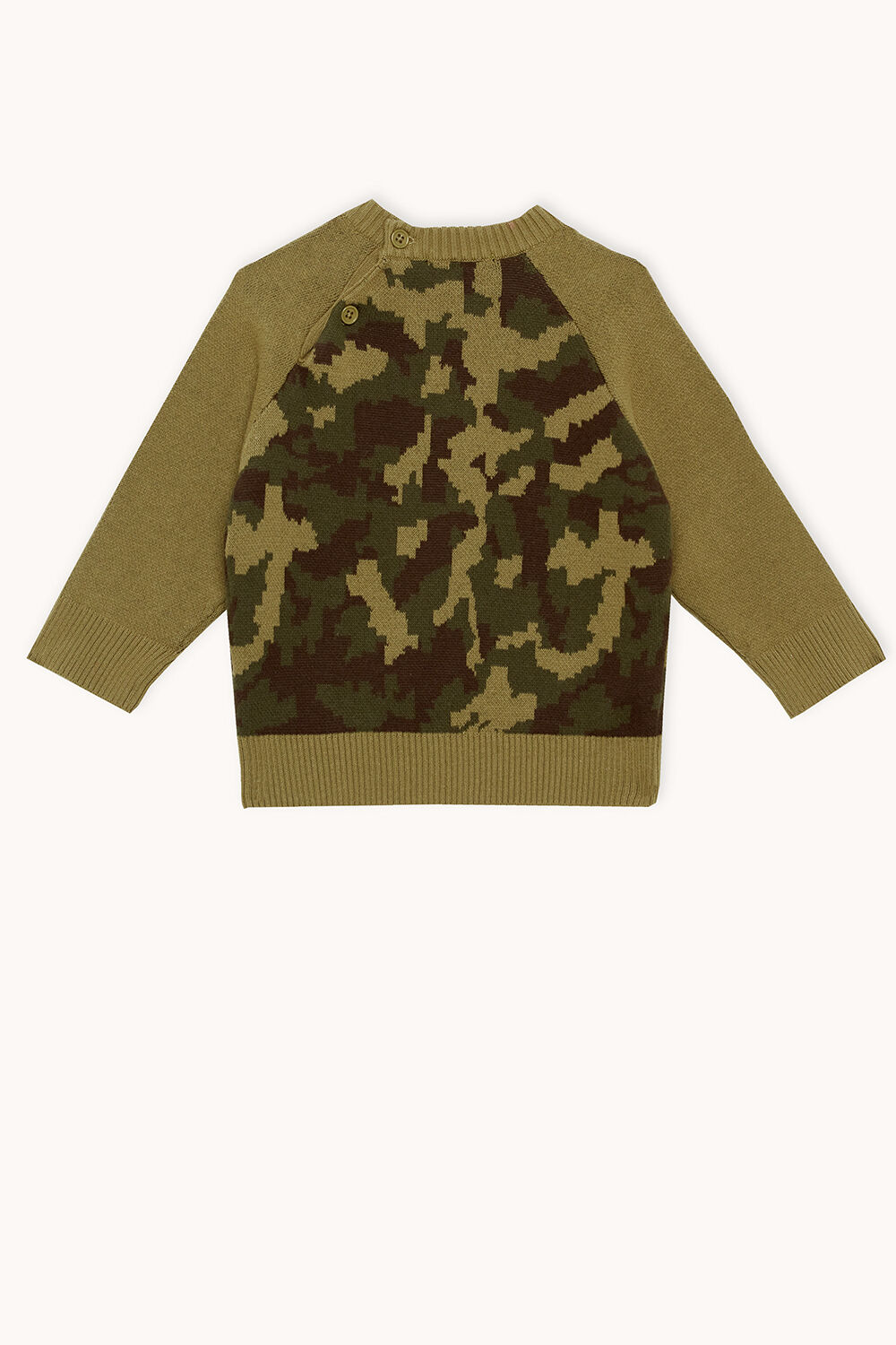 baby boy CAMO KNIT JUMPER in colour BURNT OLIVE