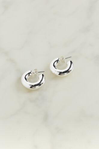 BASIC THICK MINI HOOP EARRING in colour SILVER