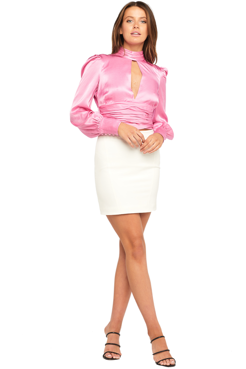 LOUISE TIE TOP in colour CRADLE PINK