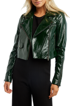 CROPPED BIKER JACKET in colour DARK GREEN