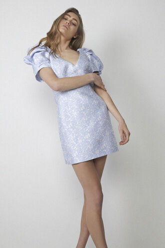 FLORAL PUFF SLEEVE in colour ILLUSION BLUE