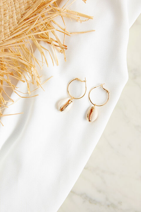 CUT METAL HOOP EARRINGS in colour GOLD EARTH