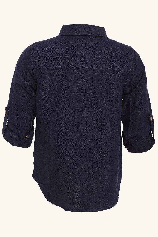 LINEN BEACH SHIRT in colour BLACK IRIS