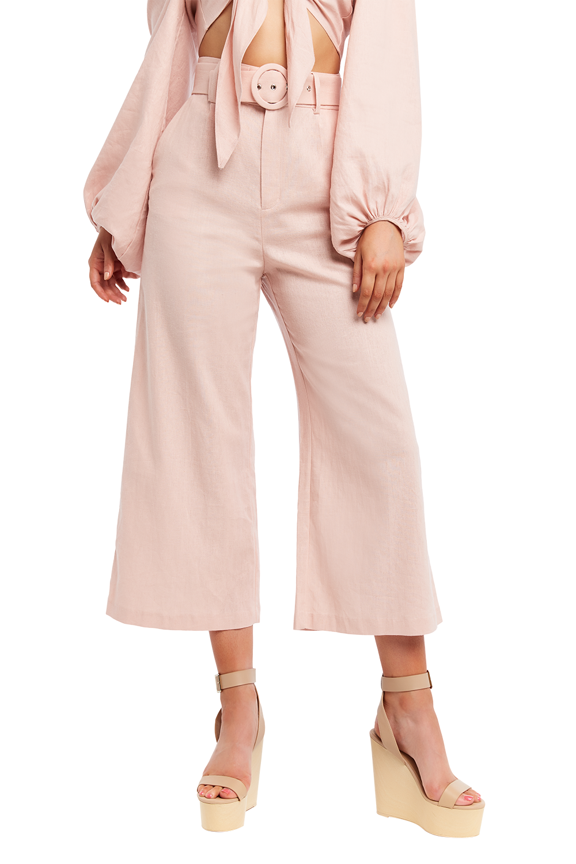 LENNY LINEN PANT in colour MISTY ROSE