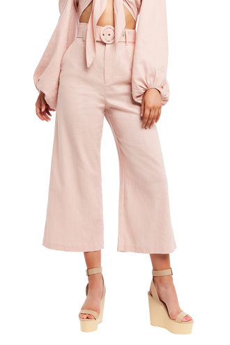 LENNY LINEN PANT. in colour MISTY ROSE
