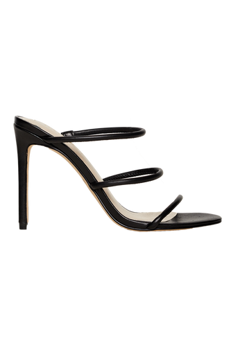 TRI LEATHER STRAP HEEL in colour METEORITE