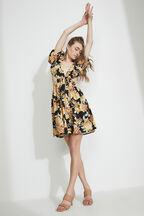 FLORAL MINI DRESS in colour JET BLACK