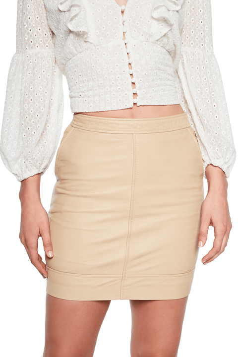 YUMA LEATHER SKIRT in colour MOONLIGHT