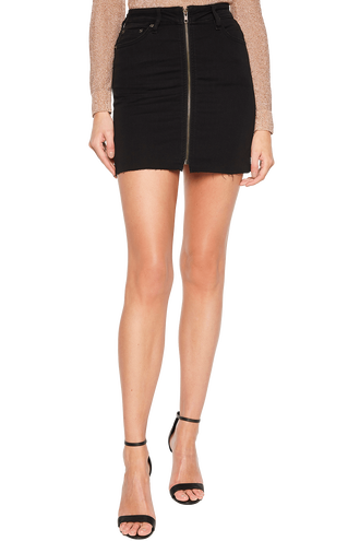 ZIP FRONT MINI SKIRT in colour PEWTER