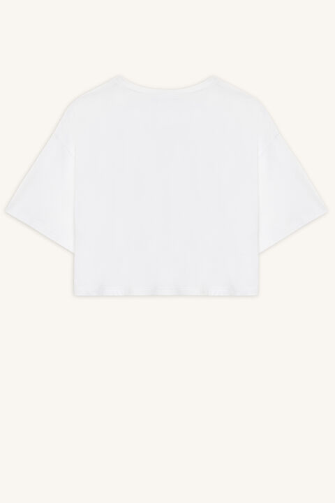 GIRL CROPPED TEE in colour CLOUD DANCER