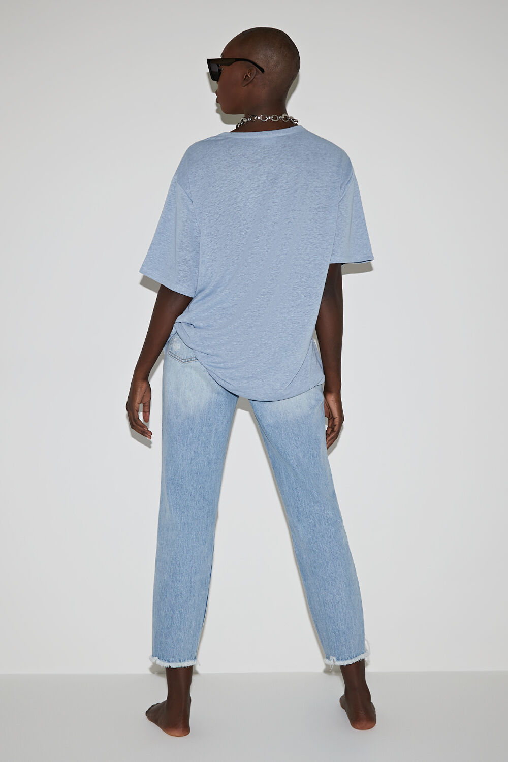 OVERSIZED LINEN BLEND TEE in colour CERULEAN