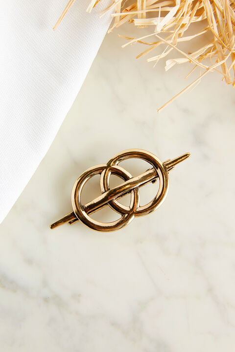DOUBLE RING HAIR CLIP in colour GOLD EARTH
