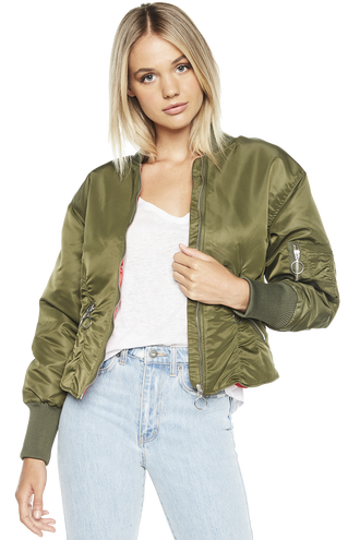 CORSET BOMBER JACKET in colour IVY GREEN