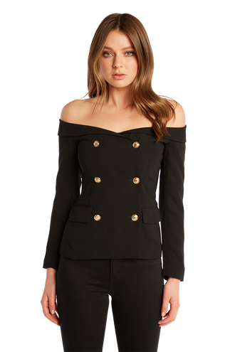 OFF SHOULDER BLAZER in colour CAVIAR