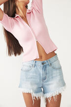 ZIP THROUGH KNIT TOP in colour PINK LADY