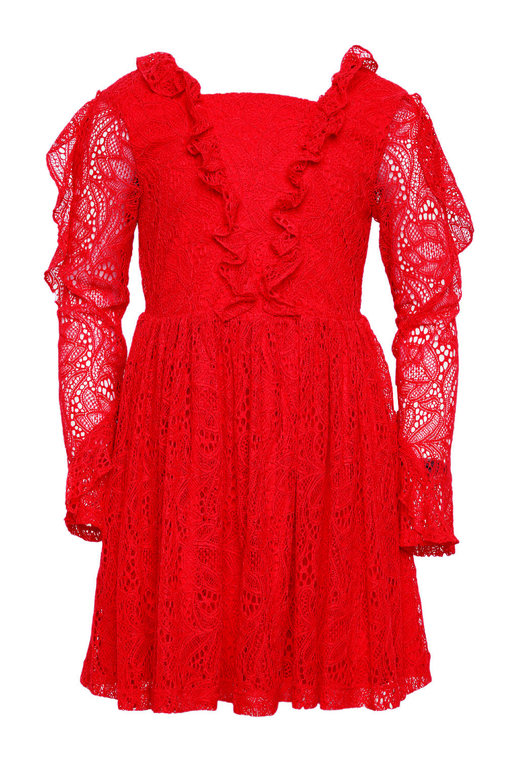 JUNIOR GIRL VERA LACE DRESS in colour HIGH RISK RED