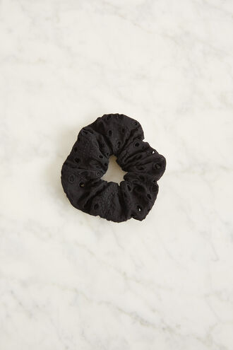 BRODERIE SCRUNCHIE  in colour CAVIAR