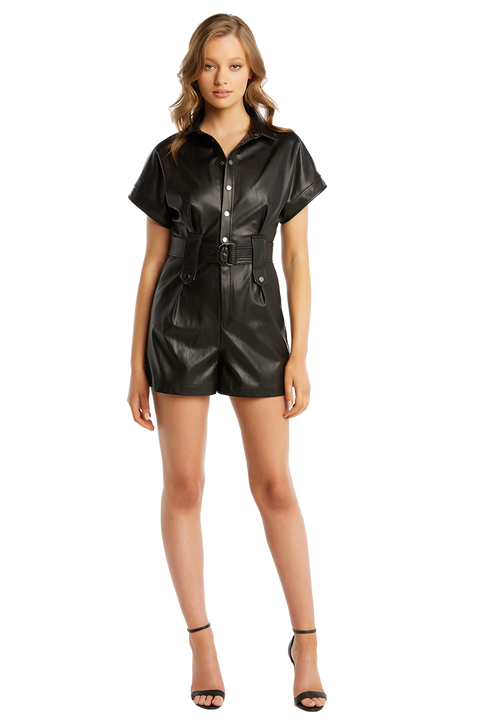 PU BELTED PLAYSUIT