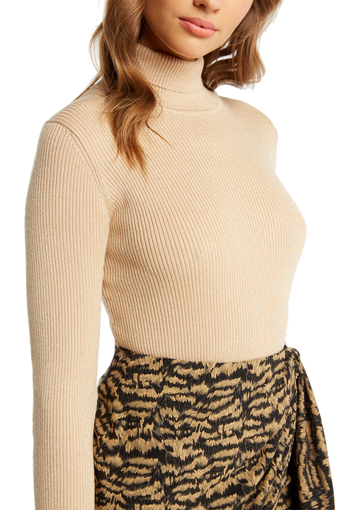 LUREX RIB KNIT TOP in colour FROSTED ALMOND