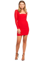 TASHA MESH DRESS in colour CRIMSON