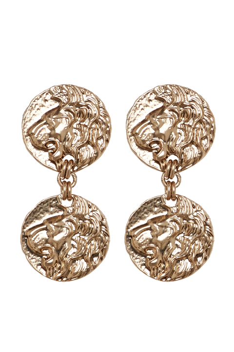 LION DOUBLE DROP EARRINGS in colour GOLD EARTH