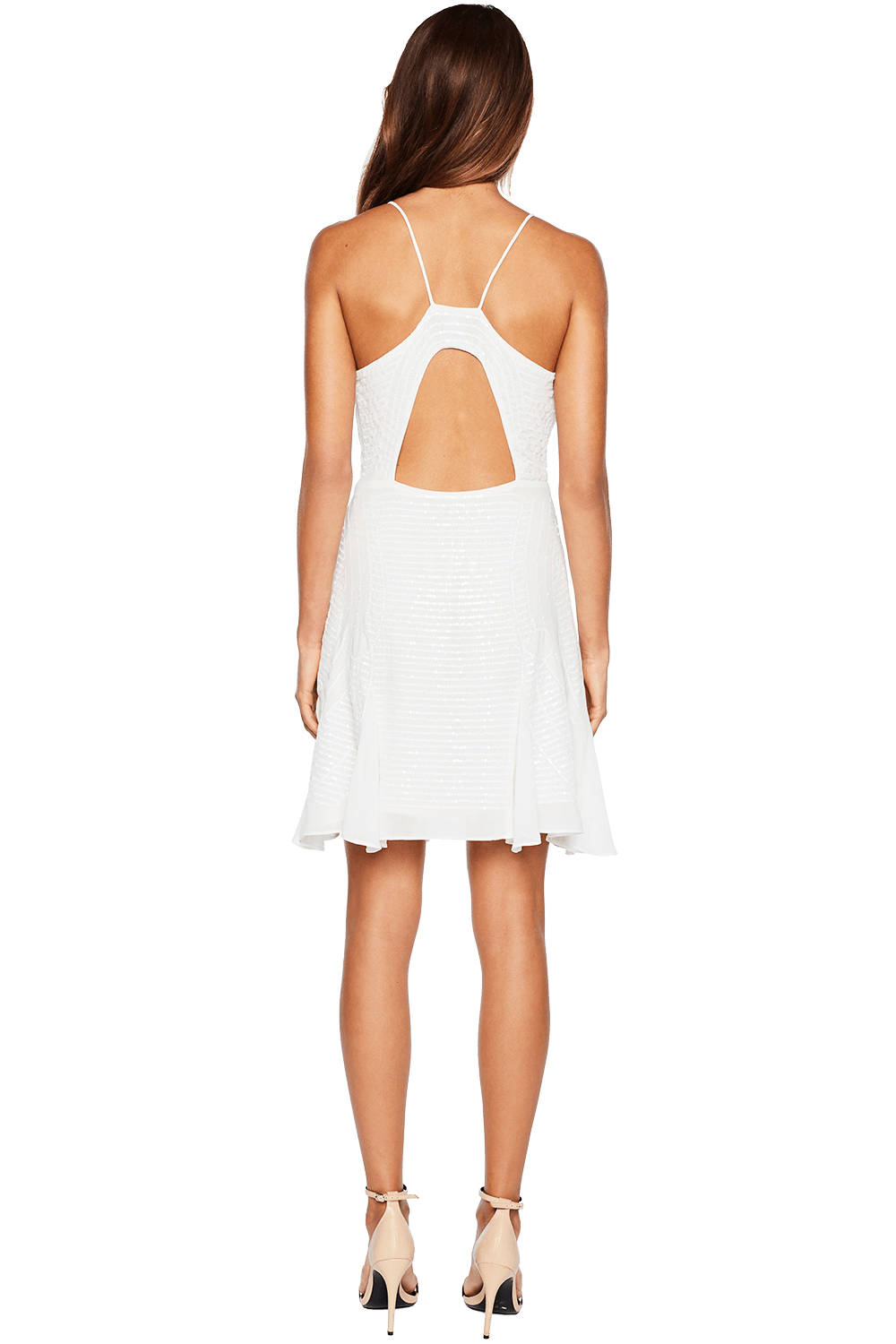 BEADED TRIM DRESS in colour CLOUD DANCER
