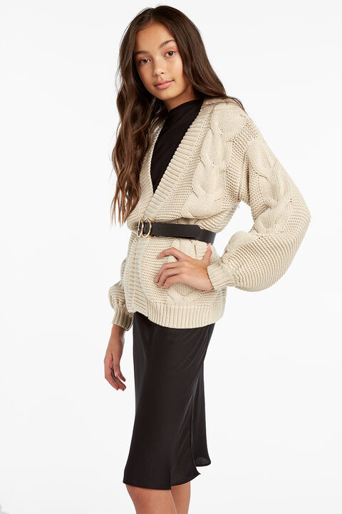 LORETTA CABLE CARDI in colour BLEACHED SAND