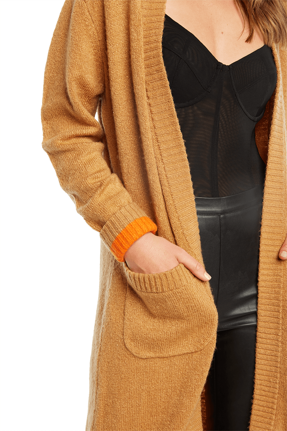 NEON CUFF CARDIGAN in colour DOE