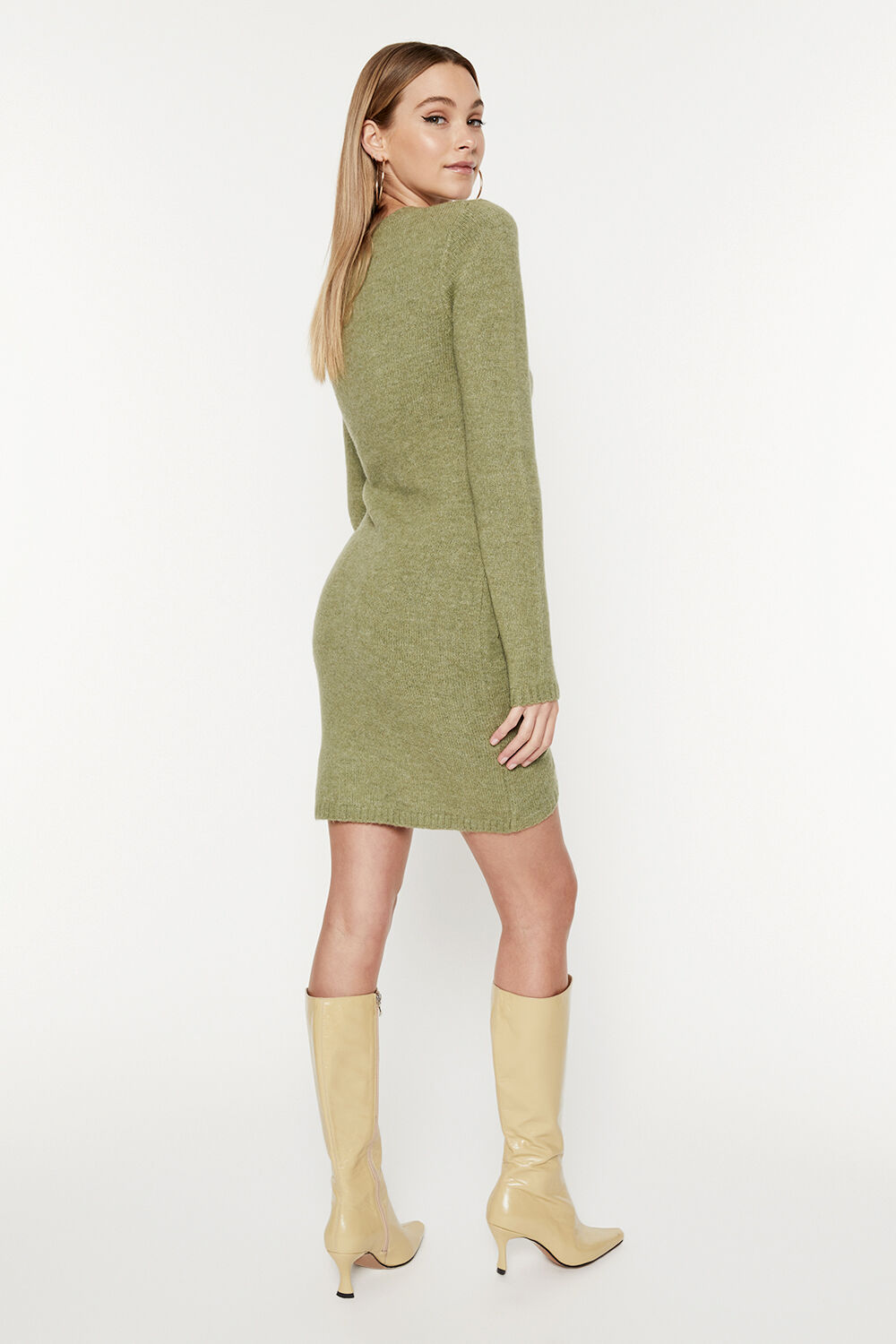 EVIE MINI KNIT DRESS in colour IVY GREEN