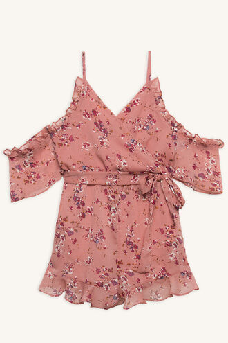 CALLA FRILL PLAYSUIT in colour ROSE SMOKE