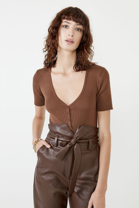 THEODORA KNIT BODYSUIT  in colour CHOCOLATE BROWN
