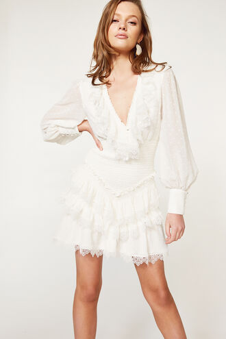 DIXIE MINI DRESS in colour CLOUD DANCER